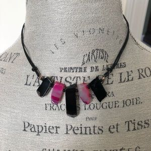 Pink & Black Graduated Agate Gemstone Necklace